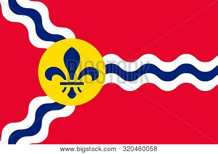 Flag Of St. Louis Is A Major Independent City And Inland Port In The U.s. State Of Missouri. Vector