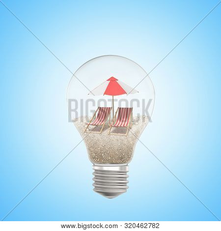 3d Rendering Of Lightbulb With Sand, Two Chaise-longues And Beach Umbrella Inside, On Light-blue Bac