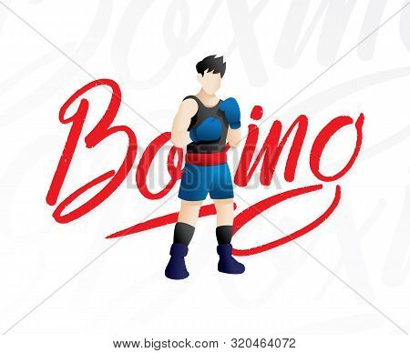 Boxing Match Flat Vector Illustration. Fighter In Sportswear Sparring, Training. Boxer Cartoon Chara