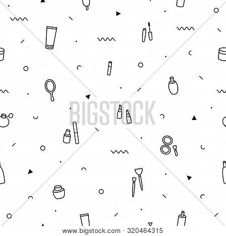 Makeup Beauty Care Seamless Pattern In Memphis Style. Fashion Background In 90s 80s. Beauty Products