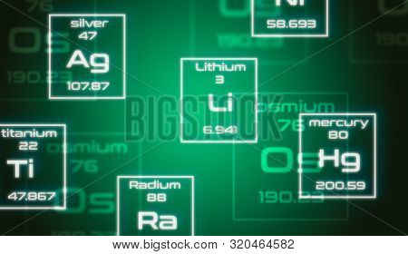 Chemistry Symbols From Mendeleev's Periodic Table On Green Background