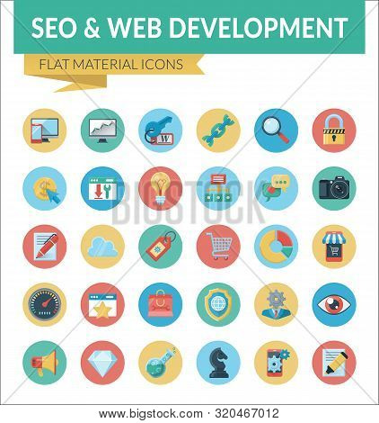 Seo And Web Development. Trendy Material Design Icons Pack For Designers And Developers. Icons For S