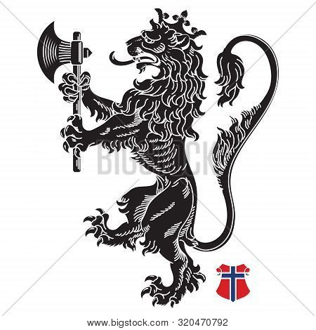 A Medieval Heraldic Coat Of Arms, Heraldic Lion, Heraldic Lion Silhouette, Crowned Lion Holding An A
