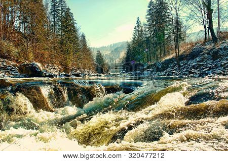 Picturesque Mountains River With Boulders, Stones And Ledge. Carpathian Mountains.