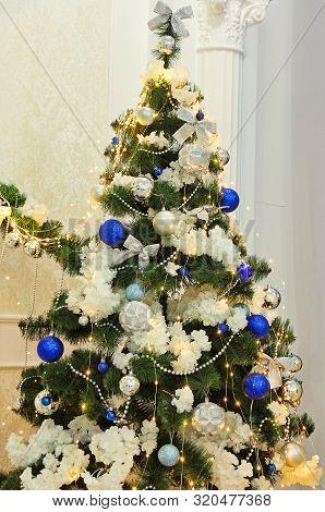 Christmas Decorations On Christmas Fir-tree Taken Closeup. New Year. Christmas.