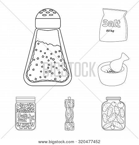 Isolated Object Of Sodium And Mineral Symbol. Set Of Sodium And Kitchen Vector Icon For Stock.