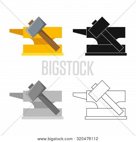 Vector Illustration Of Hammer And Hephaestus Symbol. Set Of Hammer And Olympus Stock Symbol For Web.