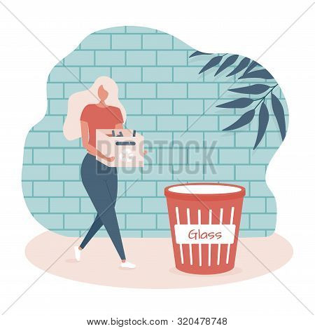 Young Woman With Box Witn Bottle Is Separating Garbage In The Bin On The Street. Vector Illustration