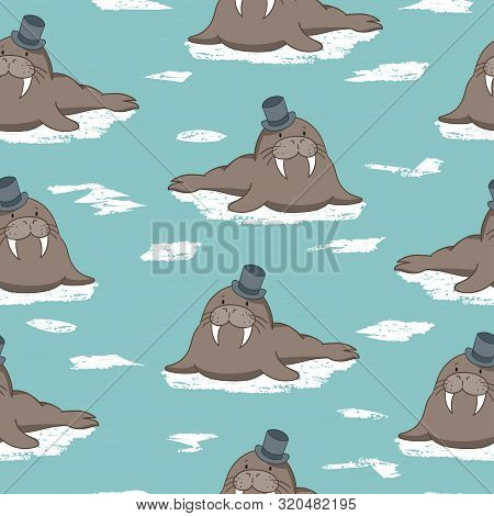 Seamless Vector Pattern With Cute Cartoon Walrus For Kids.