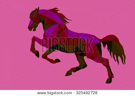 Prancing Horse, Vector-isolated Image On A Purple Background In The Style Of Low Poly