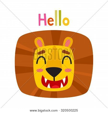 Cute Cartoon Illustration Of Lion Face Expression Isolated On White