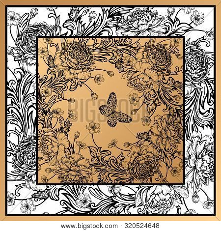 Floral Pattern. Frame Of Luxurious Flowers Peonies, Baroque Style Ornament Details, Butterflies. Bla