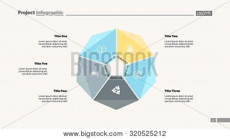Cycle Diagram With Five Options. Option Chart, Segments, Slide Template. Creative Concept For Infogr