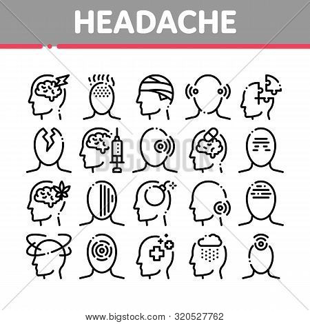 Headache Collection Elements Vector Icons Set Thin Line. Tension And Cluster Headache, Migraine And