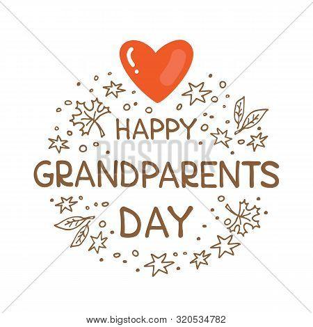Happy Grandparents Day Vector Illustration. Doodle Style. Design Element For Greeting Card, Leaflet