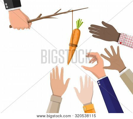 Carrot On A Stick In Hand. Motivation, Stimulus, Incentive And Reaching Goal Concept Metaphor. Fishi