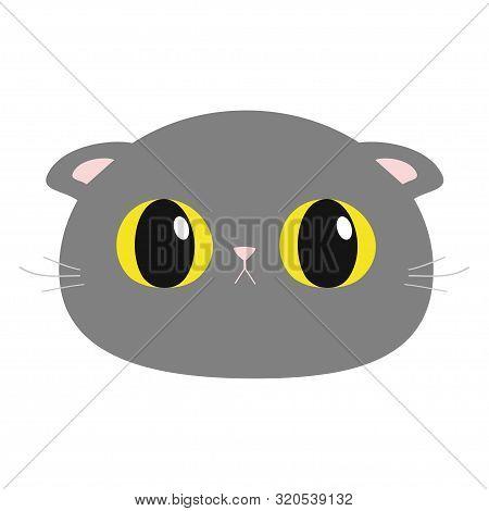 British Shorthair Cat Round Head Face Icon. Cute Funny Cartoon Character. Big Yellow Eyes. Sad Emoti