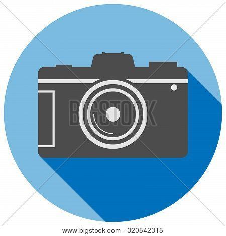 Simple Flat Round Dslr Camera Icon Or Symbol Vector Illustration
