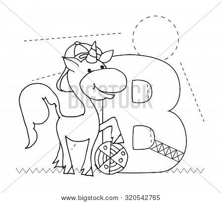 Letter B And Funny Cartoon Unicorn. Animals Alphabet A-z. Coloring Page. Printable Worksheet. Handwr