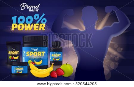 Sport Nutrition With Fruit Flavour, Protein Whey Supplement Black Plastic Containers Package Mockup,
