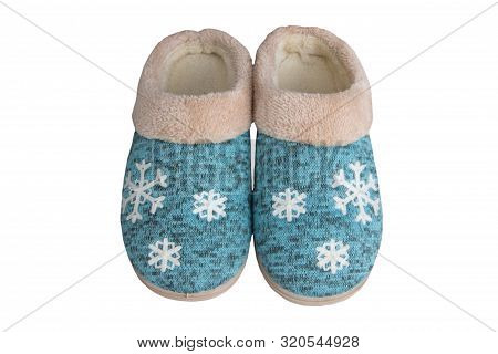 Pair Of Winter Slippers, Turchuise Slippers Isolated On White Background, Winter Slippers