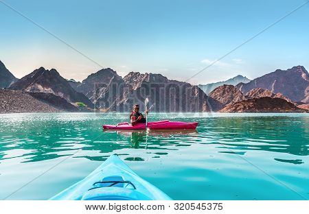 Hatta Kayaking Young Man Kayaking In Hatta Dam Beautiful Place For Water Adventure Activities Like B