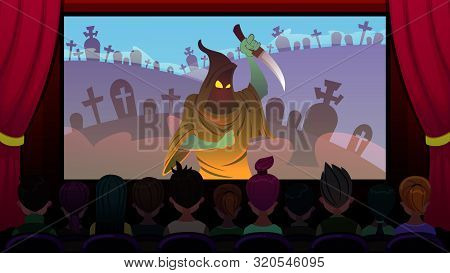 Horror Movie Is Shown On Screen In Cinema Cartoon. Foreground, Viewers Are Watching Movie Sitting In