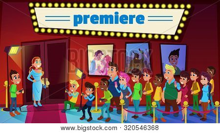 Vector Illustration Cinema Premiere Cartoon Flat. Press Takes Pictures Woman An Evening Dress At Mov