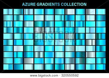 Blue, Azure Glossy Gradient, Metal Foil Texture. Color Swatch Set. Collection Of High Quality Vector