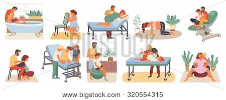 Position Of Pregnant Woman, Reproduction Set, Man Obstetrics. Female With Belly Giving Birth On Floo