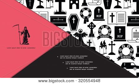 Flat Funeral And Burial Icons Composition With Grim Reaper Angel Cemetery Crosses Coffin Hearse Car