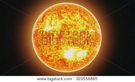 motion graph yellow Sun model with burning lava orange halo moves away in endless outer space with stars. 3d animation. Science and technology concept. Elements of this media furnished by NASA