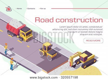 Road Repair And Construction With Heavy Machines And Working People. Excavator And Rolling Vehicles