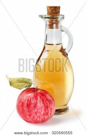 Fresh Ripe Apples And Apple Cider Vinegar. White Background. Isolated White Background.