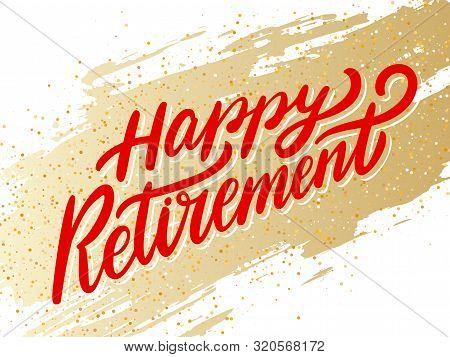 Happy Retirement Banner. Vector Hand Drawn Illustration.