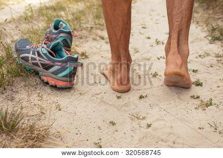 Achilles Tendon Sprain Cone In Male Athlete, Close-up