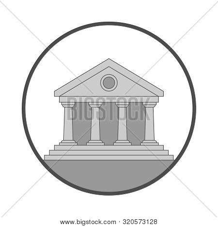 Public Building Icon. Facade Building Sign Isolated On White Background. Symbol Of The Building In T