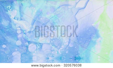 Bright Light Sky Blue Alcohol Ink Abstract Background. Flow Liquid Watercolor Paint Splash Texture E