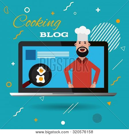 Color Flat Cooking Blog  Poster  Design Eps 10 Vector
