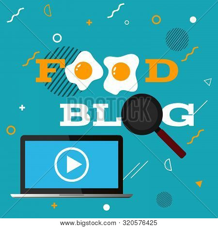 Color Flat Food Blog  Poster  Design Eps 10 Vector