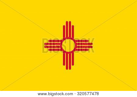 Flag Of New Mexico Is A State Of United States. Vector Illustration