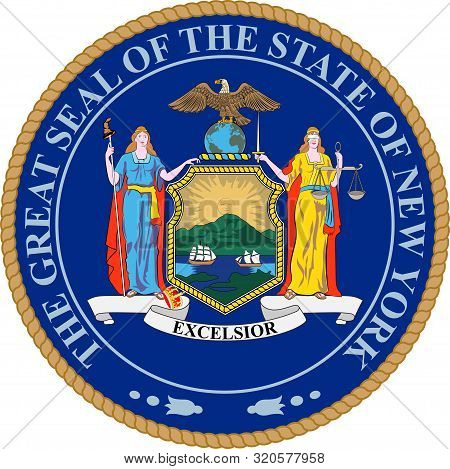 Coat Of Arms Of New York Is A State In The Northeastern United States. Vector Illustration