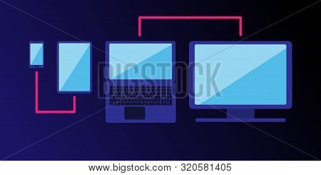 Cross-platform Web Content. Devices - A Smartphone, Tablet, Laptop And Desktop Computer With A Line