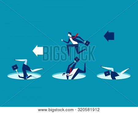 Leader Avoiding Pitfalls. Concept Business Vector Business Illustration. Flat Character Design, Trap