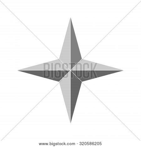 3d 4 Point Beveled Star. Vector Illustration . Template For Your Design