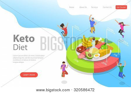 Isometric Flat Vector Landing Page Template Of Ketogenic Diet.
