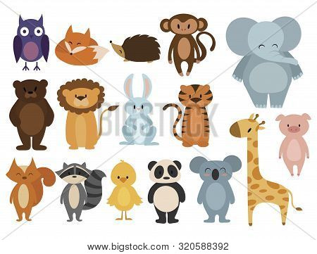 Set Of Animals. Collection Of Cartoon Animals. Residents Of The Forest And The Jungle. Vector Illust