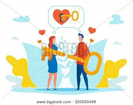 Finding Key To Loved One Heart Flat Vector Concept With Man And Woman In Love Holding Key Parts In H