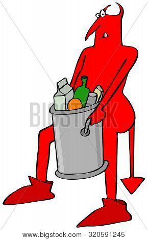 Illustration Of A Red Devil Carrying Out A Heavy Garbage Can Full Of Trash.