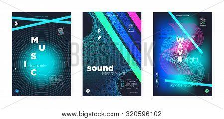 poster of Light Electro Music. Electronic Sound Background. Vibrant Dj Beats. Wave Stripes. Vibrant Music Banner. Trance Electronic Sound Background. Dj Flyer. Wave Disco. Electro Music.